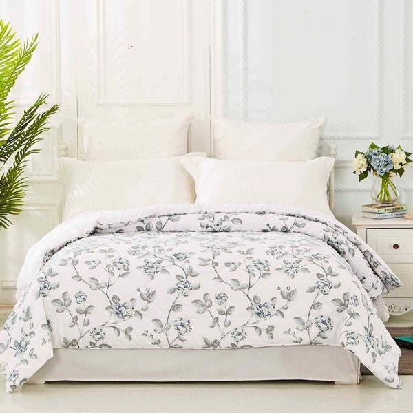 Floral Printed Down Alternative Quilted Blanket