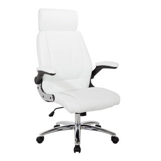 Work Smart White Faux Leather with Chrome Base Executive Chair