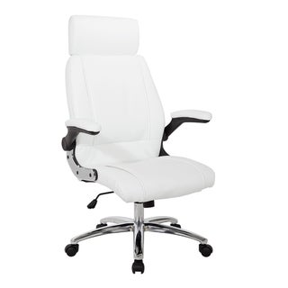 White Faux Leather with Chrome Base Executive Office Chair