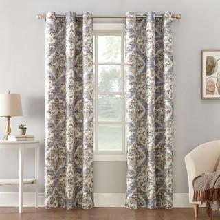 Sun Zero Regina Floral Watercolor Thermal Insulated Grommet Curtain Panel
