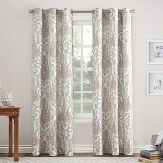 No. 918 Liliana Paisley Damask Print Grommet Curtain Panel