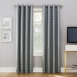 Sun Zero Rowes Woven Trellis Blackout Lined Grommet Curtain Panel