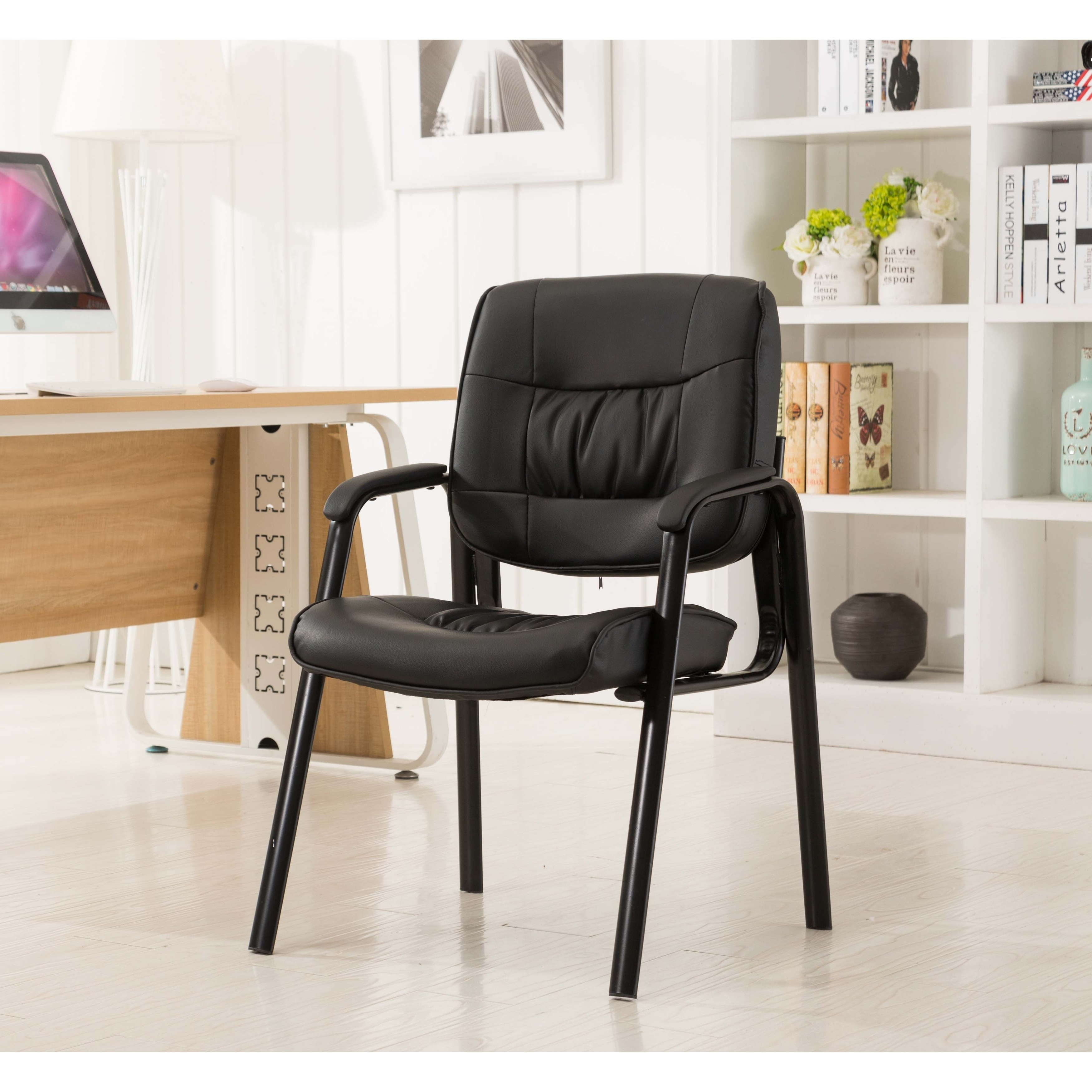 Durable Conference Chair Office Chair Waiting Room Guest Reception Armrest Black