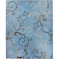 Ruggable Washable Stain Resistant Pet Area Rug Ironwork Swirls Slate Blue - 8' x 10'