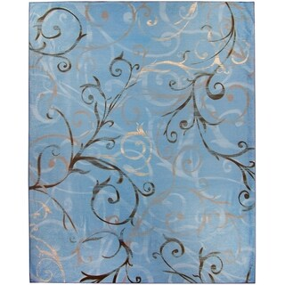 Ruggable Washable Indoor/Outdoor Stain Resistant Pet Area Rug Ironwork Swirls Slate Blue - 8' x 10'
