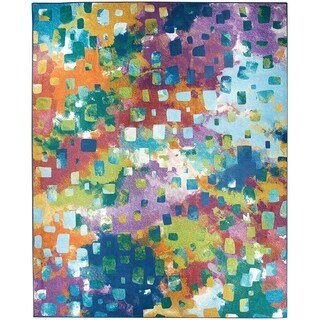 Ruggable Washable Indoor/Outdoor Stain Resistant Pet Area Rug Watercolor Abstract Multi - 8' x 10'