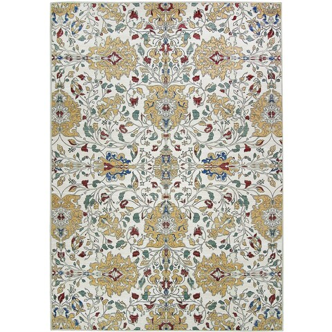 Ruggable Washable Indoor/Outdoor Stain Resistant Pet Area Rug Traditional Floral Cream - 5' x 7'