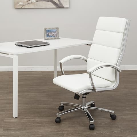 High Back Faux Leather Chair with Aluminum Finish