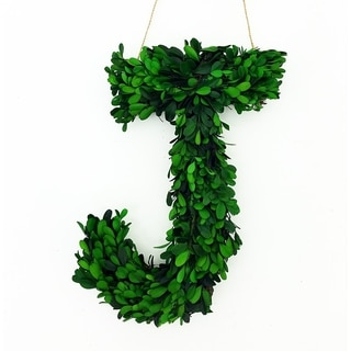 "Modern Home 12"" Real Preserved Boxwood Monogram Wreath Letters"