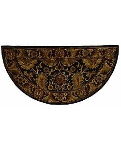 Safavieh Handmade Regal Black/ Burgundy Wool Rug (2' x 4' Half Moon)