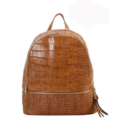Diophy PU Leather Solid Animal Embossd Pattern Medium Backpack