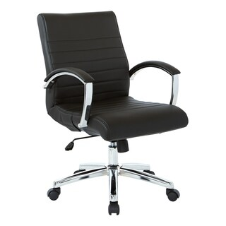 Work Smart Executive Low Back Faux Leather Chair with Chrome Arms and Base - single