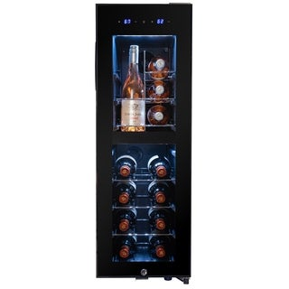 AKDY 16 Bottle Touch Panel Dual Zone Chrome Wire Shelves Freestanding Compressor Key Lock Black Wine Cooler