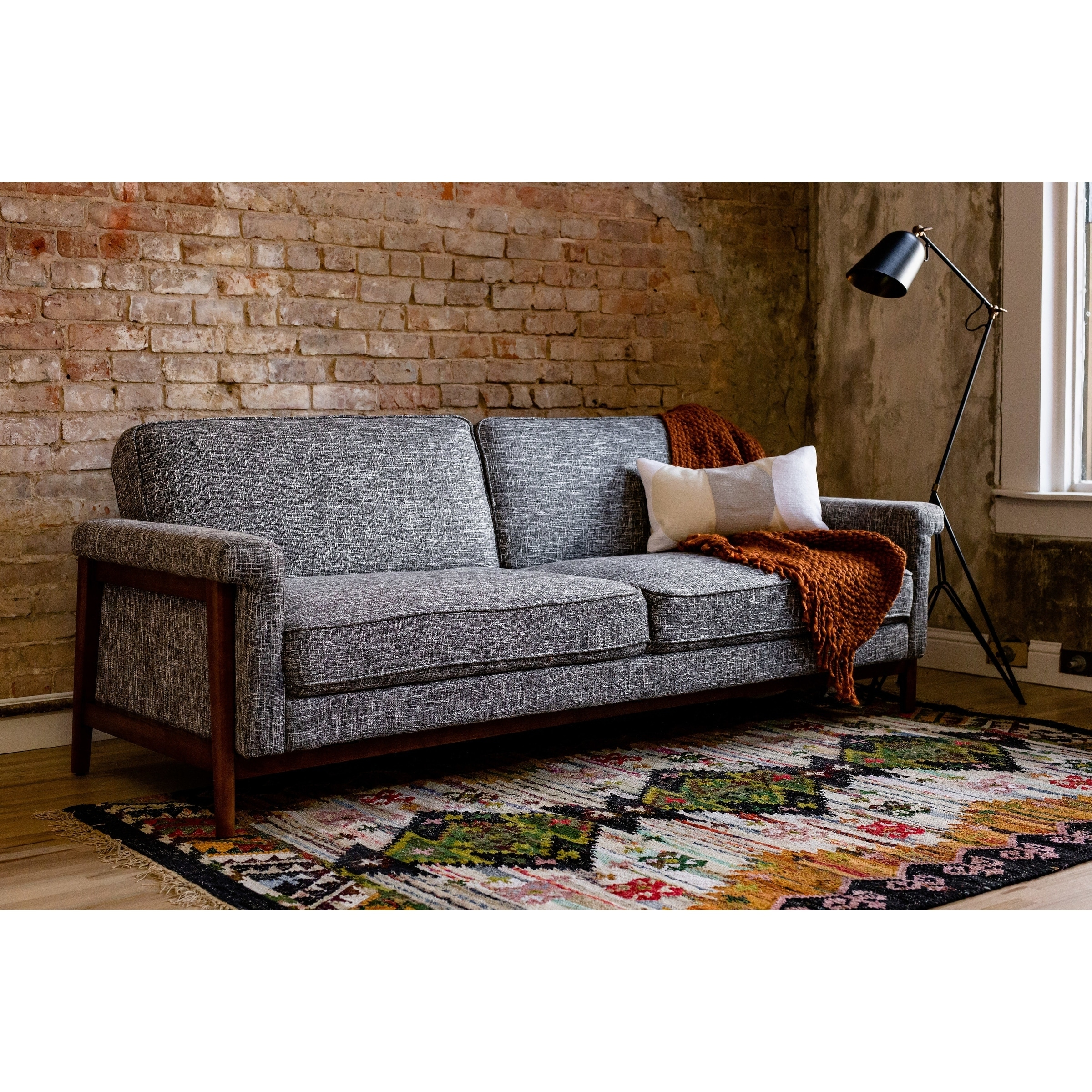 Ainsley Mid-Century Modern Grey Upholstered Sleeper Sofa