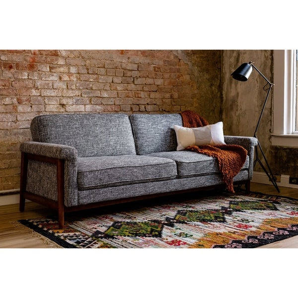Shop Ainsley Mid-Century Modern Grey Upholstered Sleeper Sofa - Free ...