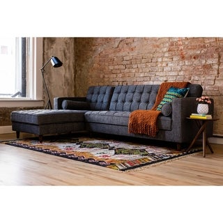 Axel Mid-Century Modern Grey Upholstered Tufted Sectional Sofa