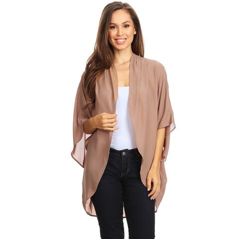 Women's Solid Color Chiffon Loose Cardigan