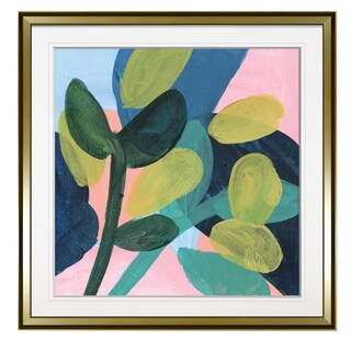May Branches II -Custom Framed Print - blue, white, grey, yellow, green, silver, gold