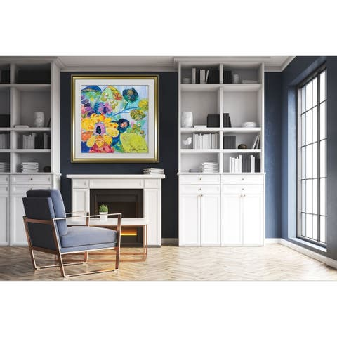 Bold Blooms VI -Custom Framed Print - blue, white, grey, yellow, green, silver, gold
