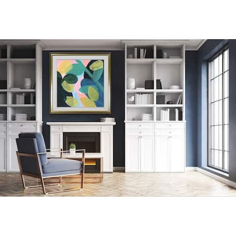 May Branches I -Custom Framed Print - blue, white, grey, yellow, green, silver, gold