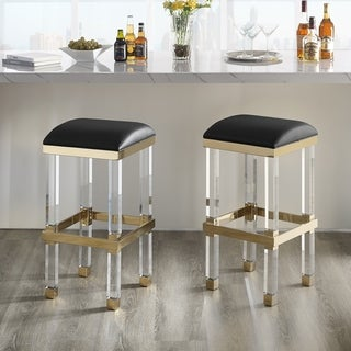 Silver Orchid Breese Upholstered Acrylic Barstool
