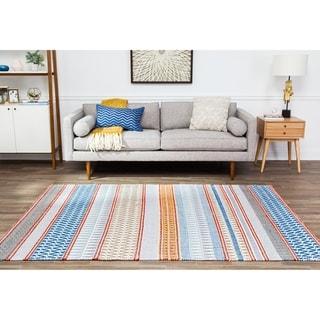 Jani Malik Multi Stripe Cotton and Jute Rug - 8' x 10'