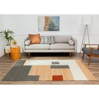 Jani Ivory/Multicolor Jute Abstract Area Rug - 8' x 10'