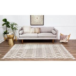 Jani Ann Brown/Ivory Geometric Jute and Wool Rug - 8' x 10'