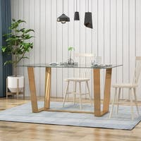 Demitric Modern Tempered Glass Dining Table by Christopher Knight Home