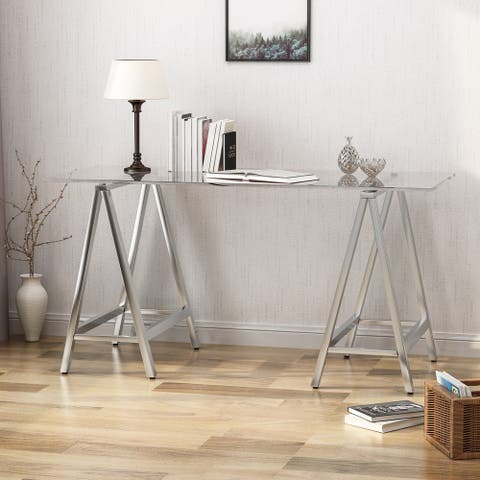 Gilia Glam Tempered Glass Desk by Christopher Knight Home