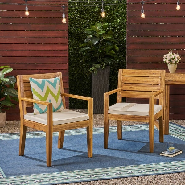 Nestor Outdoor Acacia Wood Dining Chairs by Christopher Knight Home. Opens flyout.