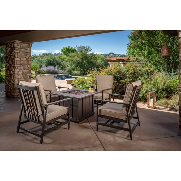 Foremost Casual Hillcrest 5 Piece Fire Chat Set - Brown/Stone