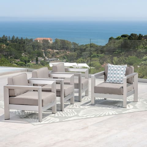 Aviara Outdoor Aluminum Club Chairs (Set of 4) by Christopher Knight Home