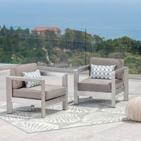 Aviara Outdoor Aluminum Club Chairs (Set of 2) by Christopher Knight Home