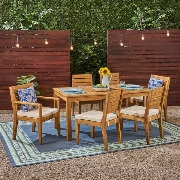 Nestor Outdoor 6-Seater Acacia Wood Dining Set by Christopher Knight Home