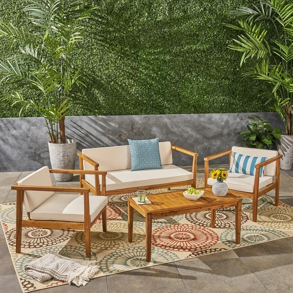 Shop Newbury Outdoor 4-Seater Acacia Wood Chat Set With