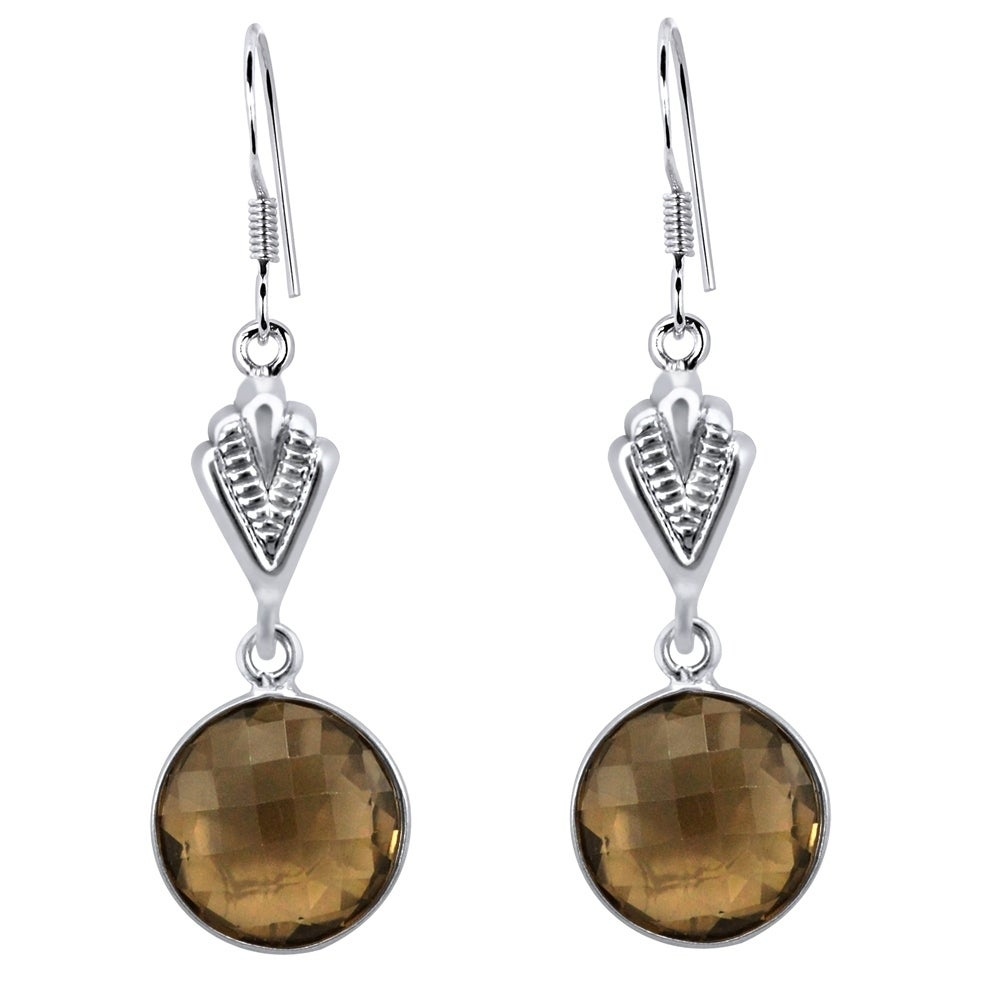 Natural Smoky Quartz Gemstone Earrings 925 Sterling Solid Silver dangle Jewelry