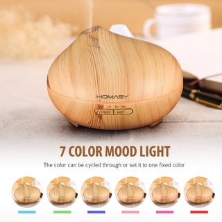 350ml Wood Grain Aroma Diffuser, Ultrasonic Aroma Humidifier with Cool Mist, 7 Colors, 4 Timer Settings
