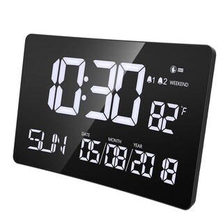 9.5inch Digital Alarm Clock,Jumbo LED Clock with Curved-Screen Display for Desk or Wall with Gesture Sensor