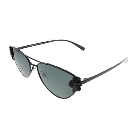 Versace Cat-Eye VE 2195B 100987 Women Black Frame Grey Lens Sunglasses