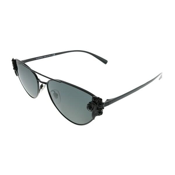 81517a52af567 Versace Cat-Eye VE 2195B 100987 Women Black Frame Grey Lens Sunglasses