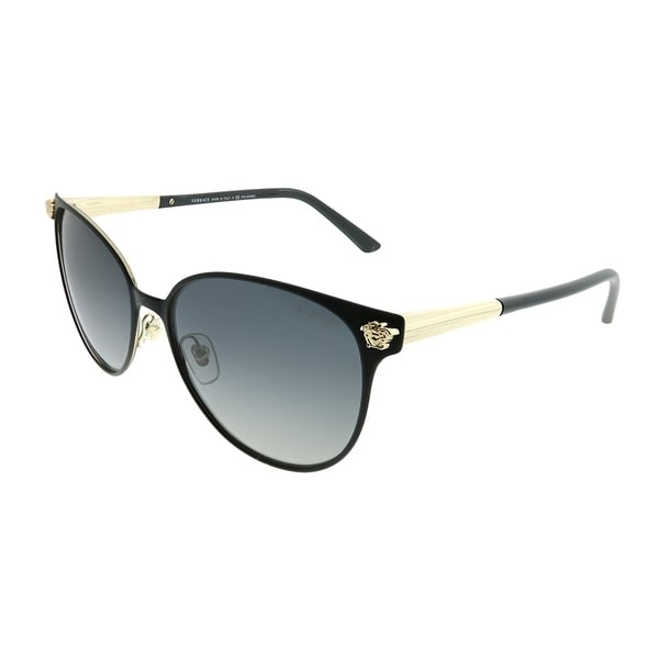 60222d85889 Versace Round VE 2168 1377T3 Women Black Pale Gold Frame Grey Gradient  Polarized Lens Sunglasses