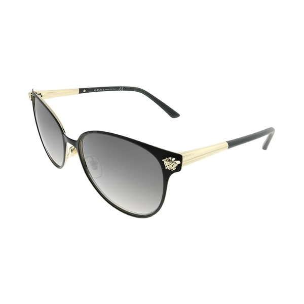 9a506cdd7fe9 Shop Versace Round VE 2168 13776I Women Matte Black Pale Gold Frame Grey  Mirror Gradient Lens Sunglasses - On Sale - Free Shipping Today - Overstock  - ...