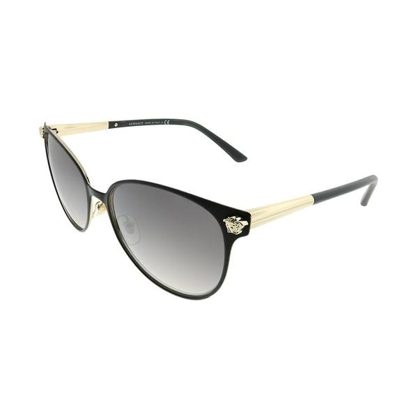 e7676a9e1da Versace Round VE 2168 13776I Women Matte Black Pale Gold Frame Grey Mirror  Gradient Lens Sunglasses