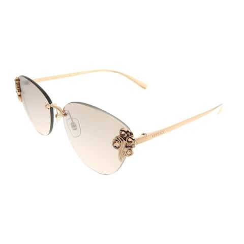 2df60d133277e Versace Cat-Eye VE 2196B 14128Z Women Rose Gold Frame Silver Mirror Lens  Sunglasses