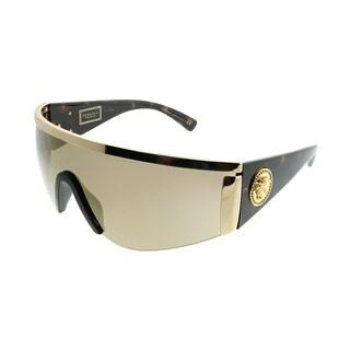 Versace Shield VE 2197 10005A Unisex Gold Frame Gold Mirror Lens Sunglasses