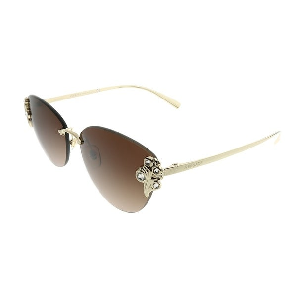 f4c5c9fd3a2 Versace Cat-Eye VE 2196B 125213 Women Pale Gold Frame Brown Gradient Lens  Sunglasses