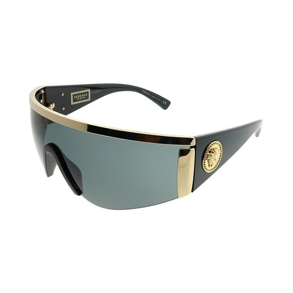 0f985338534f5 Versace Shield VE 2197 100087 Unisex Gold Frame Grey Lens Sunglasses