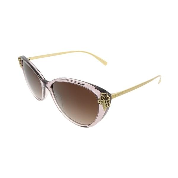 402d2ac51a144 Versace Cat-Eye VE 4351B 527313 Women Transparent Violet Frame Brown  Gradient Lens Sunglasses