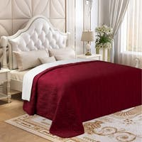 Microfiber Embroidered Full/Queen Quilt Burgundy